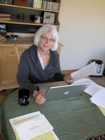Margie Haack, editing a manuscript