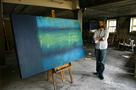 untitled (yellow/blue) (2008), oil on canvas, 10' x 3'