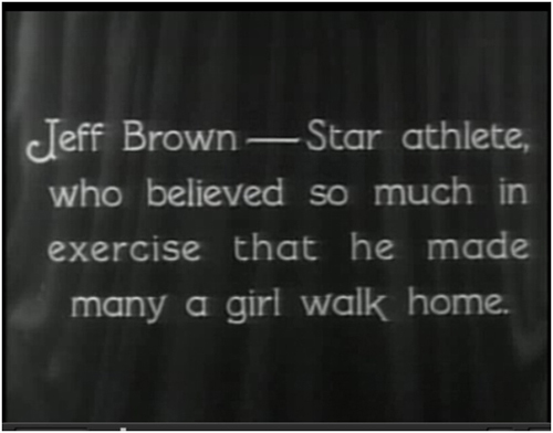 Character exposition via subtitle, in Buster Keaton's <i>College</i> (1927)