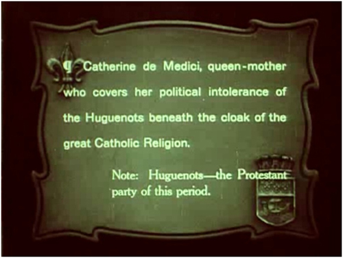 Silent film subtitle with explanatory footnote, Intolerance (1916)