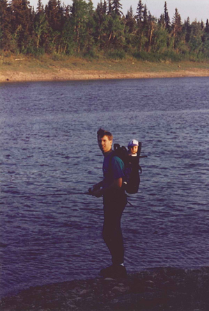 Milton fishing with Charae, Northwest Territories
